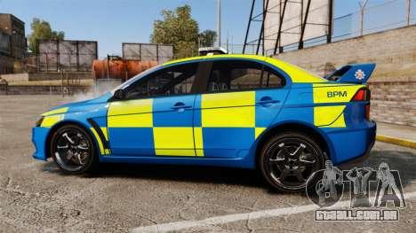 Mitsubishi Lancer Evo X Humberside Police [ELS] para GTA 4 esquerda vista