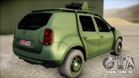 Dacia Duster Army Skin 1 para GTA San Andreas esquerda vista