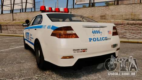 GTA V Police Vapid Interceptor NYPD para GTA 4 traseira esquerda vista