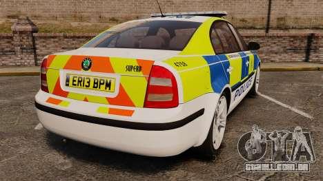 Skoda Superb 2006 Police [ELS] Whelen Justice para GTA 4 traseira esquerda vista