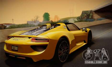 Porsche 918 Spyder 2014 para GTA San Andreas vista inferior