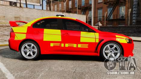 Mitsubishi Lancer Evo X Fire Department [ELS] para GTA 4 esquerda vista