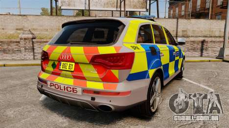 Audi Q7 Metropolitan Police [ELS] para GTA 4 traseira esquerda vista