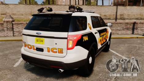 Ford Explorer 2013 Longwood Police [ELS] para GTA 4 traseira esquerda vista