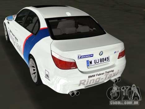 BMW M5 (E60) 2009 Nurburgring Ring Taxi para GTA Vice City deixou vista