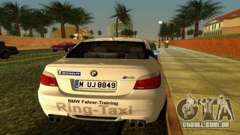BMW M5 (E60) 2009 Nurburgring Ring Taxi para GTA Vice City vista traseira