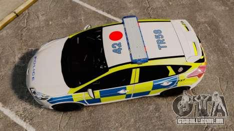 Ford Focus 2013 Uk Police [ELS] para GTA 4 vista direita