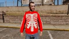 Camisola vermelha-esqueleto -