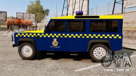 Land Rover Defender HM Coastguard [ELS] para GTA 4 esquerda vista