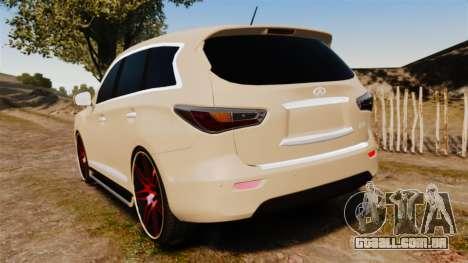 Infiniti JX 2013 para GTA 4 traseira esquerda vista