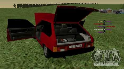 VAZ-2108 para GTA San Andreas vista interior