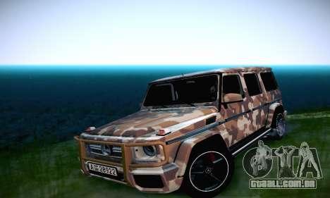 Mercedes Benz G65 Army Style para GTA San Andreas vista interior