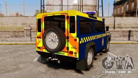 Land Rover Defender HM Coastguard [ELS] para GTA 4 traseira esquerda vista
