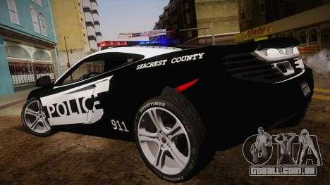 McLaren MP4-12C Police Car para GTA San Andreas esquerda vista