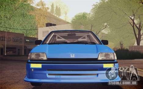 Honda Civic S 1986 IVF para GTA San Andreas vista interior