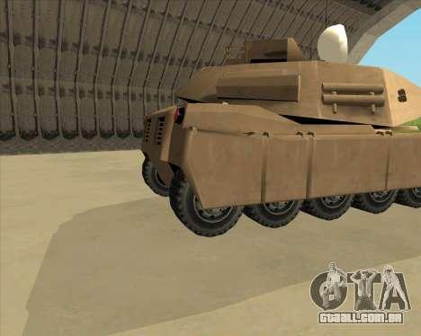 Rhino Mark.VI para GTA San Andreas traseira esquerda vista