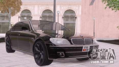 BMW 750Li E66 para GTA San Andreas vista interior