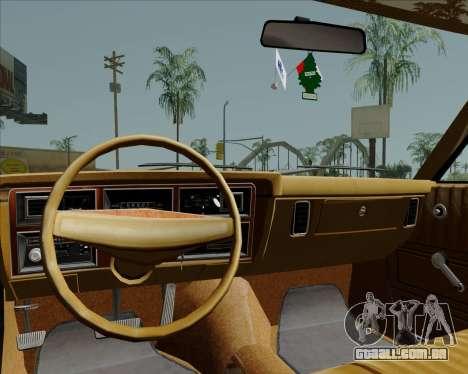 Dodge Aspen para GTA San Andreas vista interior