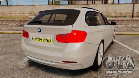 BMW 330d Touring (F31) 2014 Unmarked Police ELS para GTA 4 traseira esquerda vista
