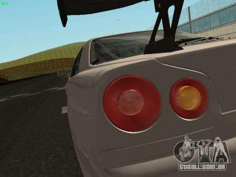 Nissan Skyline BNR34 para GTA San Andreas vista traseira