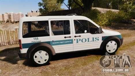 Ford Transit Connect Turkish Police [ELS] v2.0 para GTA 4 esquerda vista
