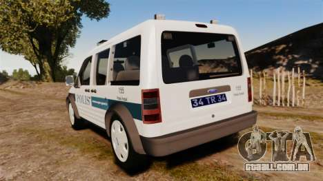 Ford Transit Connect Turkish Police [ELS] v2.0 para GTA 4 traseira esquerda vista