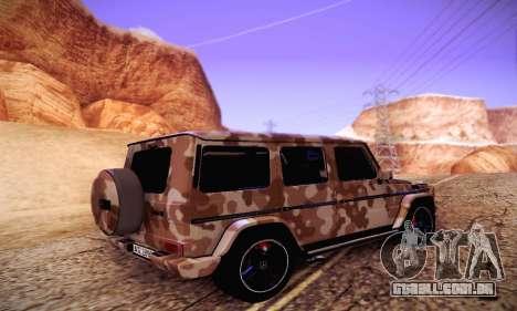 Mercedes Benz G65 Army Style para GTA San Andreas traseira esquerda vista