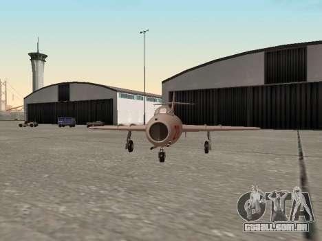 MiG 15 Bis para GTA San Andreas traseira esquerda vista