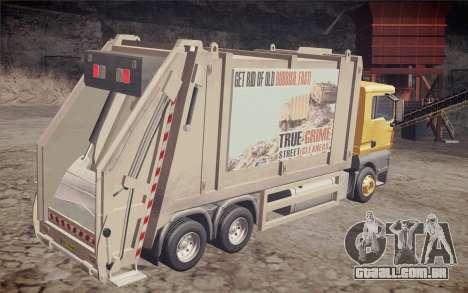 MAN TGS 18.320 Trash Truck para GTA San Andreas esquerda vista