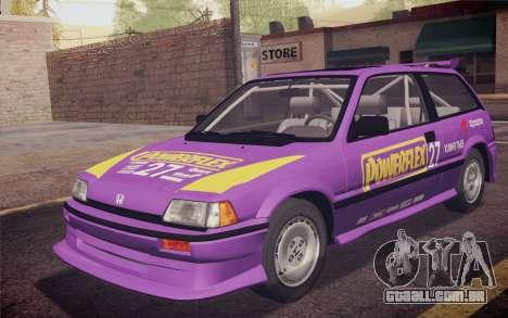 Honda Civic S 1986 IVF para GTA San Andreas interior