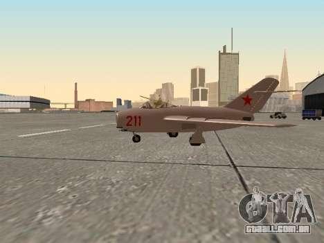 MiG 15 Bis para GTA San Andreas esquerda vista