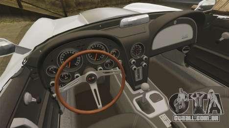 Chevrolet Corvette Stingray para GTA 4 vista de volta