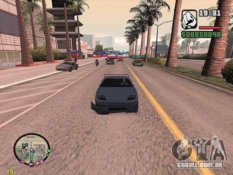 SA-MP 0.3z para GTA San Andreas por diante tela