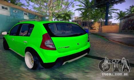 Dacia Sandero para GTA San Andreas traseira esquerda vista
