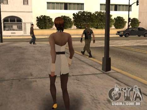 Menina vestido branco para GTA San Andreas por diante tela