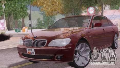 BMW 750Li E66 para GTA San Andreas traseira esquerda vista