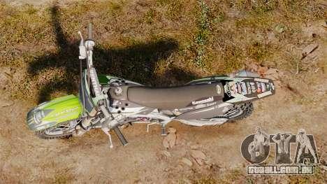 Kawasaki KX250F Monster Energy para GTA 4 vista direita