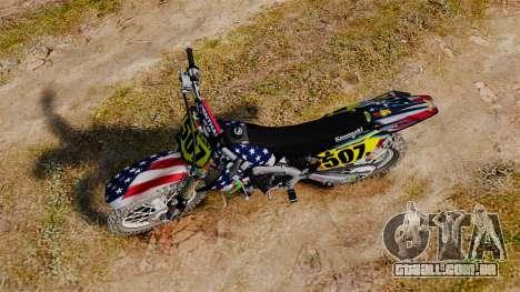 Kawasaki KX250F USA para GTA 4 vista direita