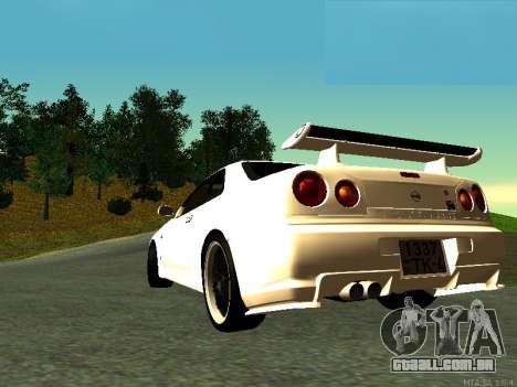 Nissan Skyline R34 GT-R para GTA San Andreas esquerda vista