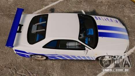 Nissan Skyline GT-R R34 V-Spec 1999 para GTA 4 vista direita