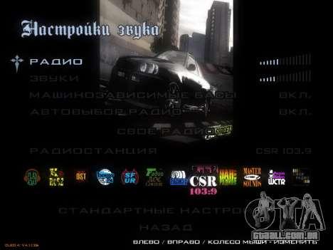 Menu de NFS para GTA San Andreas terceira tela