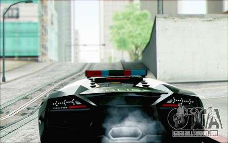 Lamborghini Reventon Police Car para GTA San Andreas esquerda vista