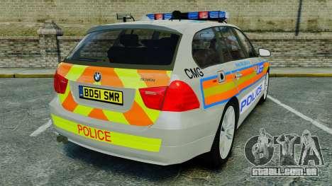 BMW 330i Touring Metropolitan Police [ELS] para GTA 4 traseira esquerda vista