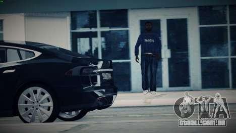 Tesla Model S para GTA San Andreas vista traseira