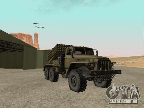 Ural 375 BM-21 para GTA San Andreas traseira esquerda vista