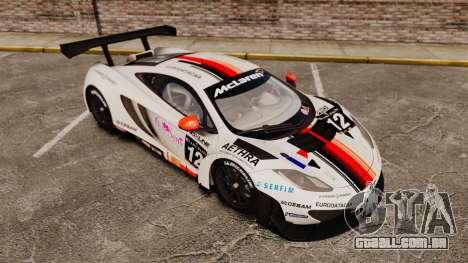 McLaren MP4-12C GT3 (Updated) para GTA 4 vista inferior