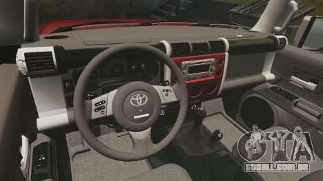 Toyota FJ Cruiser 2012 para GTA 4 vista de volta