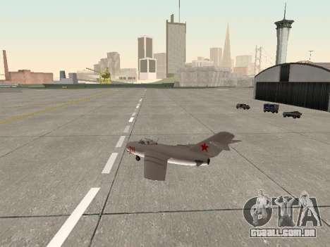 MiG 15 Bis para GTA San Andreas vista direita
