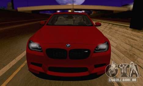 BMW M5 F10 v1.1 para GTA San Andreas vista traseira