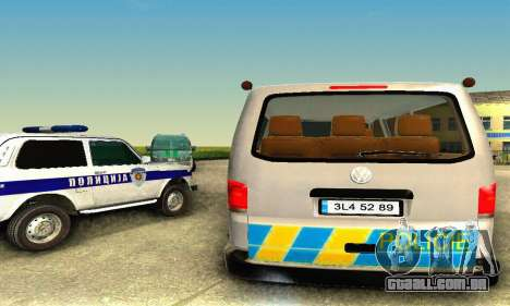 Volkswagen Transporter Policie para GTA San Andreas traseira esquerda vista